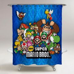 Super Mario Bros All Character New Custom Design Shower Curtain