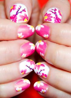 5 Best Floral Nail Art Designs For the super girly designs, expect for some flowers or floral nail designs. Flowers are always pretty no matter what! A good color combination and precise strokes would make it perfect. Cherry Nail Art, Cherry Blossom Nails, Cool Nail Designs, Acrylic Nail Designs, Henna Designs, Fancy Nails, Cute Nails, Basic Nails, Floral Nail Art