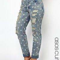 ASOS Curve | ASOS CURVE Slim Boyfriend Jeans In Spot Print at ASOS