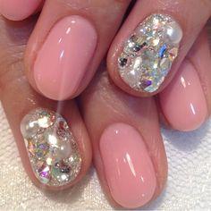Nude pink and Swarovski crystals.