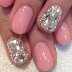 Nude pink and Swarovski crystals.