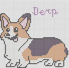 Derp Corgi Instantly downloadable digital cross stitch pattern.