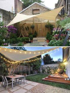 beautiful backyard patio design ideas to relax with your family 6 s . - beautiful backyard patio design ideas to relax with your family 6 shade sail - Backyard Shade, Outdoor Shade, Backyard Patio Designs, Pergola Shade, Pergola Patio, Backyard Landscaping, Shade Ideas For Backyard, Landscaping Ideas, Shade For Patio