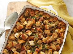 Vegan Stuffing : All the usual suspects are here (minus the butter and eggs) to recreate the comforting flavors of traditional stuffing. Although green tea may seem like an oddball ingredient, the earthy flavor makes it a better replacement for chicken stock than vegetable stock, which can be too sweet and high in sodium.