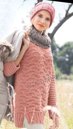 Пуловер, шарф-петля и шапка, фото