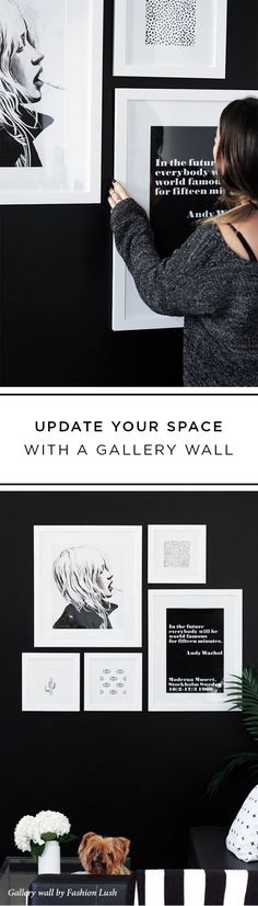 Stay fresh with a gallery wall of Irvine frames on a bold wall. Need help pulling your own gallery wall together? @Framebridge takes the stress away by providing printing, custom framing, and a custom hanging guide designed specifically for your space.