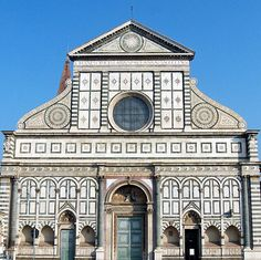 Santa Maria Novella / Architect: Leon Battista Alberti, begun 9th Century, front facade completed by Alberti in 1456 / Florence, Italy.