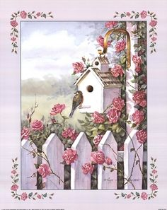Stampabili per decoupage - 'The Rose Birdhouse' Vintage Cards, Vintage Paper, Vintage Postcards, Decoupage Vintage, Vintage Pictures, Vintage Images, Paper Art, Paper Crafts, Country Art