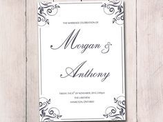 turquoise wedding program template fold over alice booklet program