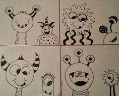 Circle Monsters- provide students with circle tracers and a few ideas.  At least 2 circles must be used in each monster and two monsters should be drawn.  Stress happy monsters!  Can be colored if time allows.