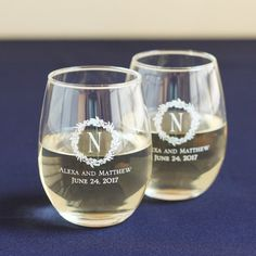 Engraved 9oz Stemless Wine Glass wedding favors | Wedding Favors ...