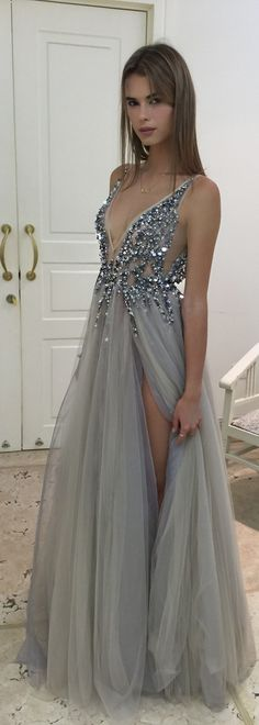 Beautiful Prom Dress, gray prom dresses beaded prom dress gray prom dresses formal gown ball gown evening gowns modest party dress slit prom gown for teens Meet Dresses Grey Prom Dress, Sequin Prom Dresses, Beaded Prom Dress, Prom Party Dresses, Tulle Dress, Tulle Lace, Ball Dresses, Silver Dress, Slit Dress