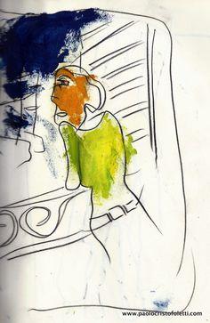 «L'identité de la femme»   Contè crayon and Oil on paper