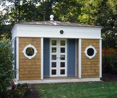 "This versatile ""shed"" design can be used for many needs. The design incorporates more formal elements of architecture to elevate the notion of ""shed. Pool Shed, Backyard Sheds, Garden Sheds, Building Windows, Building A House, Shed Design, House Design, Studio Shed, She Sheds"