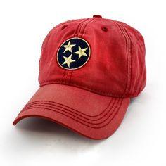 Tennessee Flag Tri-Star Hat, Vintage Red