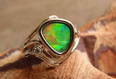 Boulder Opal Ring 14k White Gold BezelSet Diamond by cutterstone, $635.00