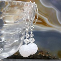 handmade white drop earrings with semi-precious white agate beads with crystals. a unique handcrafted jewellery design – Making a Statement Jewellery UK