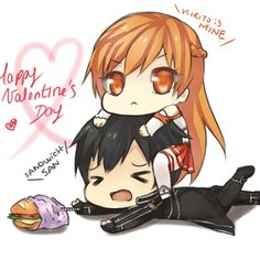 "Asuna:"" MY KIRITO!!!!!!"" Kirito: ""my sand....wich.... get off me Asuna!"" Lololololol I let my imagination run wild! :)"