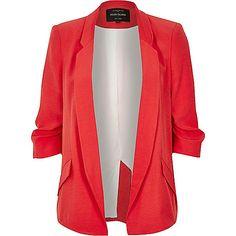 Red ruched sleeve blazer - blazers - coats / jackets - women