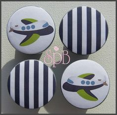Transportation Knobs - Kids Dresser Knobs - Drawer Pulls - Airplane - Boys Knobs - Wood Knobs - 1-1/2 Inches