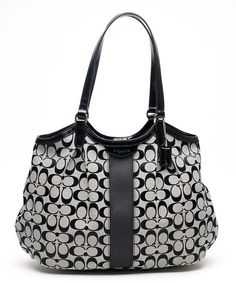 This Black Signature Stripe Shoulder Bag by Coach is perfect! #zulilyfinds $230