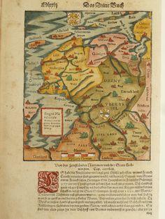 Friesland, Groningen; Sebastian Münster - zonder titel - ca. 1580 - Catawiki Star Fort, Bronze Age, Netherlands, Holland, Vintage World Maps, Old Things, Languages, Genealogy, Prints