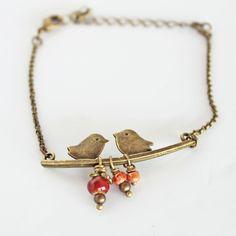 bracelet, bracelet oiseaux, bracelet ajustable, bracelet fin, bracelet chaine : Bracelet par pluiedete-bijoux