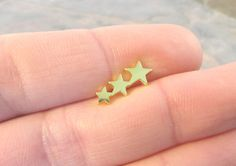 Gold Three Stars Cartliage Earring Tragus Helix by MidnightsMojo, $8.50