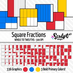 Fractions CLIP ART. Perfect for creating worksheets, games or task cards! Bold primary colors.