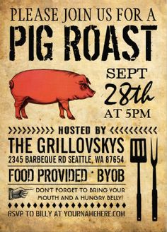 Pig roast invitations. Vintage rustic style. Easy to customize and available in different styles.
