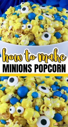 Minions Popcorn is both fun and delicious.  Sweet and salty popcorn mixed with M&M Candy and googly monster eyes.  This is delicious anytime snack that would also be a great Party food at a Minions Birthday Party or a Despicable Me Family Movie Night.  Pin this easy to make dessert for kids for later and follow us for more great Popcorn Recipe Ideas. #Minions #MinionsParty #DespicableMe #Popcorn #PopcornRecipes #Sweet Popcorn Minion Birthday, Minion Party, Superhero Party, 2nd Birthday, Perfect Popcorn, Sweet Popcorn, Rice Krispie Treats, Rice Krispies, My Family Movie