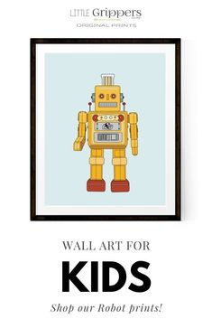 Choose from eight different Robot prints to suit a special kids room. These colourful prints sit well on the walls in any nursery, toddlers room, or big boys room. #robots #scifi #prints #nursery #kids #toddlers #gendernetural #homedecor