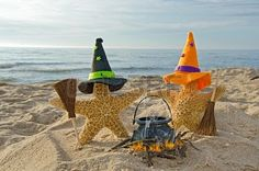 Halloween starfish on the beach with brooms. This is awesome!