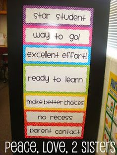 I love this behavior chart! kids start each day in the middle at ready to learn and can move up or down throughout the day.
