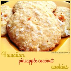 Hawaiian Pineapple Coconut Cookies Recipe - The perfectly sweet chewy cookie Get the recipe from basilmomma Macaroon Cookies, Cookies And Cream Cake, Coconut Cookies, Sweet Cookies, Sweet Treats, Cookies Soft, Healthy Cookies, Cake Cookies, Sugar Cookies
