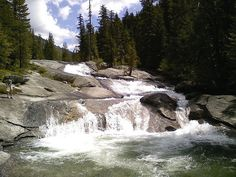 Lower part of lower Lion Creek Cascades Priest Lake Idaho  Granite Rock Slides