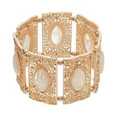 Filigree Rectangle Stretch Bracelet, Women's, White
