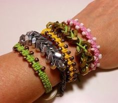 Arm Candy Square Knot Beaded Macrame Bracelets... Free tutorial!