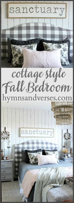 Welcome Fall Home Tour – Fall Bedroom and Hallway Cottage Style Fall Bedroom – Hymns and Verses Farm Bedroom, Guest Bedroom Decor, Living Room Decor, Upstairs Bedroom, Bedroom Ideas, Guest Bedrooms, Guest Room, Master Bedroom, Country Style Homes