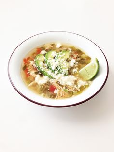 Crock Pot Green Chile Chicken & Avocado Soup- Yum! I think this might be my next crock pot meal!