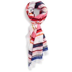 Women's Kate Spade New York Berber Stripe Scarf (£70) ❤ liked on Polyvore featuring accessories, scarves, berber pink, striped shawl, kate spade, kate spade scarves and striped scarves