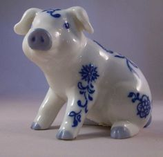 Vintage Blue and White Porcelain Pig SIGNED PG White Porcelain, Pigs, Piggy Bank, Drawing Ideas, Bible, Blue And White, Vintage, Piglets, Ideas For Drawing