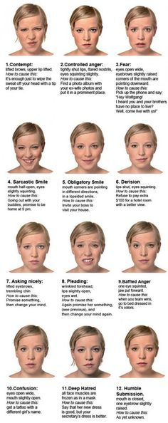 Women's facial expression chart.  Practice all of the faces you can make in the mirror!