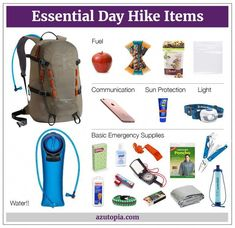 Wondering what to pack for a day hike? Packing for a day hike is easy. See our guide and learn how to efficiently pack a hiking backpack for a day hike. Camping Car, Camping And Hiking, Outdoor Camping, Camping Hacks, Stealth Camping, Camping Stuff, Camping Ideas, Camping Guide, Hiking With Kids