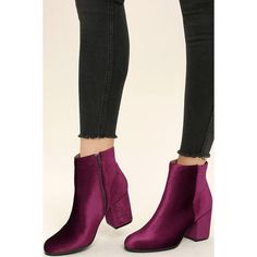 Annette Garnet Velvet Ankle Booties (34 CAD) ❤ liked on Polyvore featuring shoes, boots, ankle booties, red, red boots, red booties, rounded toe boots, qupid ankle booties and qupid boots
