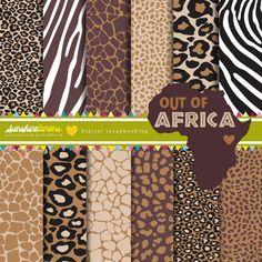 Aus Afrika digitale Papier  Set 12  kommerzielle von SunshineLemons