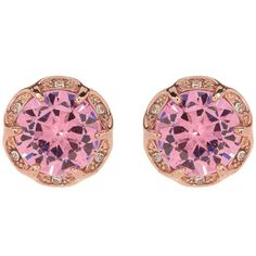 Betsey Johnson Round Pink CZ Scalloped Halo Earrings ($15) ❤ liked on Polyvore featuring jewelry, earrings, pink, post earrings, pink cubic zirconia earrings, cz jewellery, cz jewelry and betsey johnson