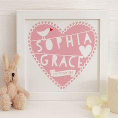 Personalised Heart New Baby Framed Print