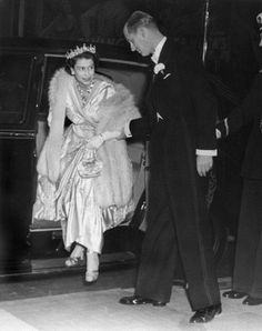 Princess Elizabeth (Queen Elizabeth II) and her husband, Prince Philip, Duke of Edinburgh attending the premiere of the Herbert Wilcox film, 'The Lady with a Lamp' at the Warner Theatre in London on 22nd Sep 1951