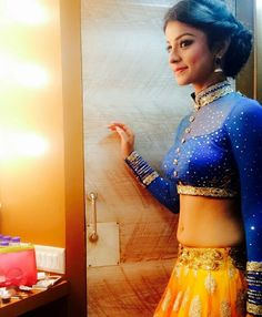 """ wearing a beautiful blue blouse and golden skirt in this candid photo 😍 Beautiful Girl Indian, Beautiful Saree, Beautiful Indian Actress, Beautiful Actresses, Lehnga Dress, Lehenga, Salwar Neck Designs, Cute Couple Tattoos, Stylish Blouse Design"